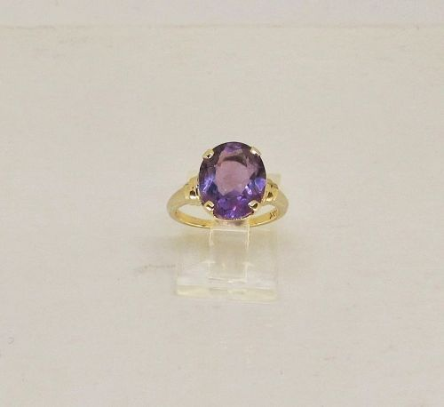 Amethyst 10Kt Yellow Gold Retro Ring