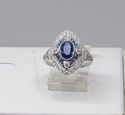 Art Deco Style Sapphire and Diamond Ring 18Kt White Gold