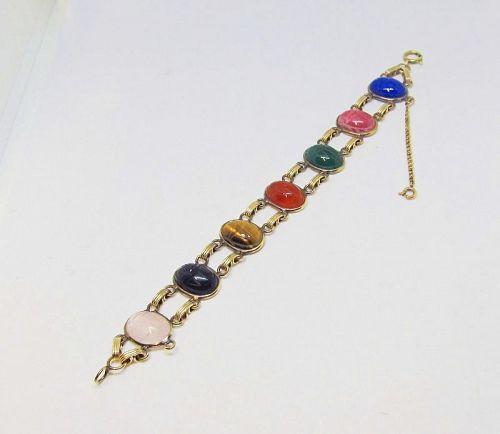 Scarab Bracelet Vintage Semi Precious Stones Gold Field