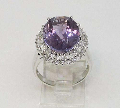 Amethyst and Diamond Ring 14Kt White Gold