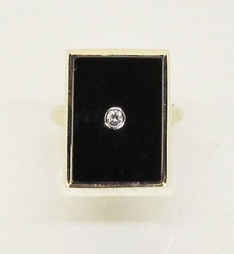 Art Deco Onyx and Diamond Ring 14Kt Gold