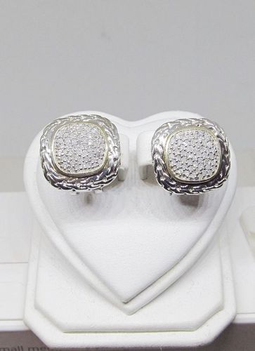 Elegant Sterling Silver and Diamond Earrings with Vermeil