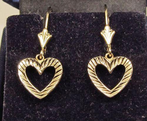 Heart Earrings with Leaver Backs 14Kt Yellow Gold