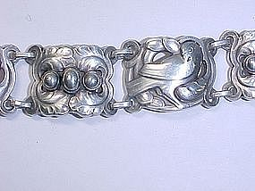 GEORG JENSEN Sterling Silver Dove and Bead bracelet