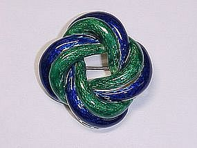 18 Karat Gold and Enamel Knot Brooch