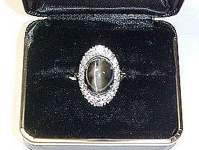 Platinum cat's-eye and diamond ring