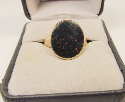 Pink Gold Oval Bloodstone Ring 14Kt