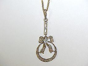 14Kt Gold Diamond and Seed Pearl Bow Pendant Lavaliere