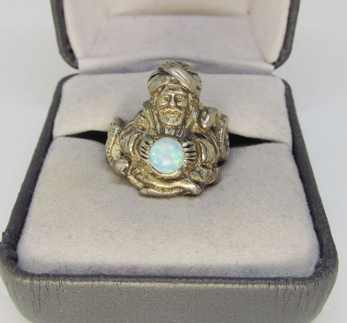 Figural Sterling Silver and Opal Ring with Snakes