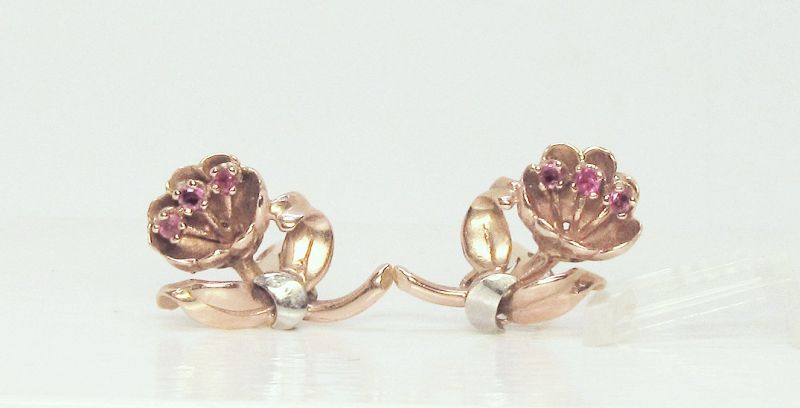 14KT PINK GOLD RETRO FLOWER EARRINGS WITH RUBIES