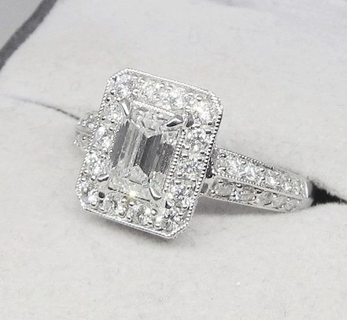 18 Kt Gold and Emerald Cut Diamond Engagement Ring