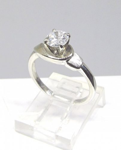 Modern 1960's White Gold Engagement Ring