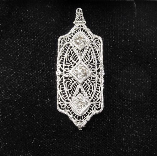 1920's Filigree Platinum, Gold and Diamond Pendant Pin