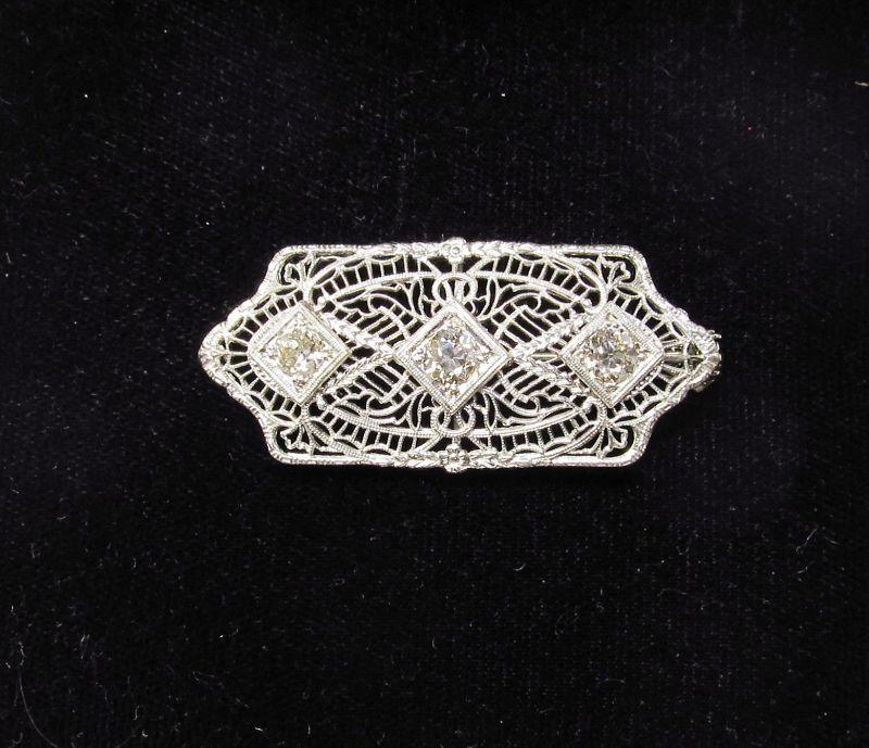 1920's Filigree Platinum, Gold and Diamond Pendant Pin