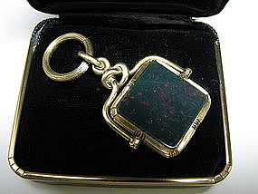 Bloodstone, Carnelian and 14 Kt Gold Fob