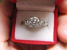 Old Mine Diamond and 14Kt Gold Engagement Ring