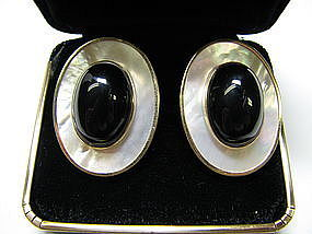 Contemporary Mother of Pearl and Onyx Earrings