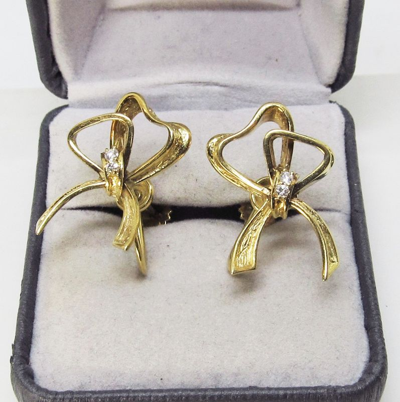 1960's Gold Bow Earring and Pin Set With Diamonds
