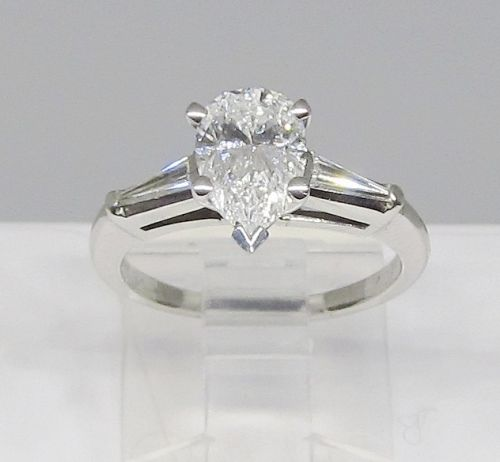 Pear Shaped Diamond and Platinum Engagement Ring