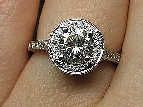 Contemporary 18Kt Engagement Ring with Pave Diamonds