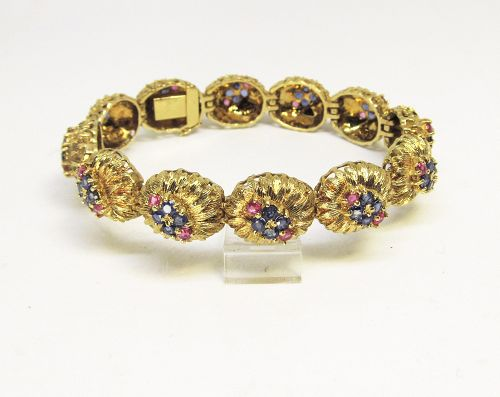 Ruby and Sapphire Bracelet 1960's 18 Kt Gold,