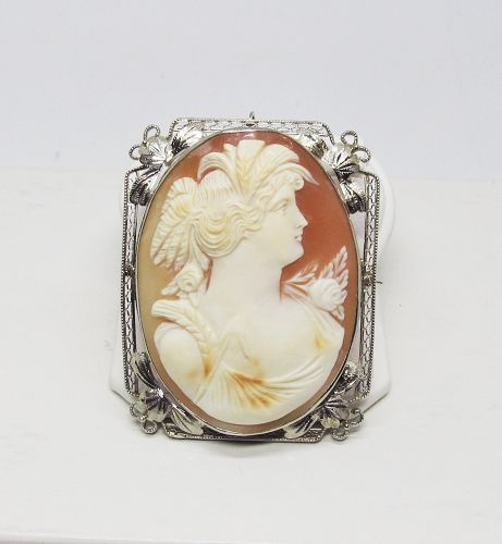 1920's Oval Shell Cameo Brooch in 14Kt Gold Frame