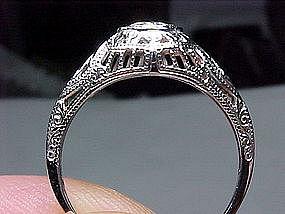 Filigree 18 Kt White Gold and Diamond Ring