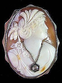 Oval Shell Cameo Pin and Pendant  in 14 Kt Gold Frame
