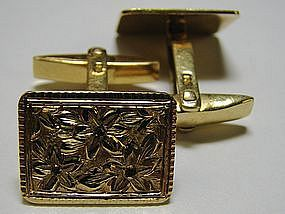 Italian Retro Floral Cufflinks in 18 Kt Gold