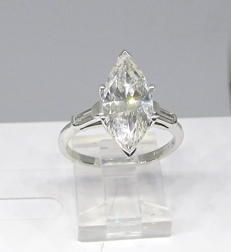 Platinum and Marquis Cut Diamond Engagement Ring