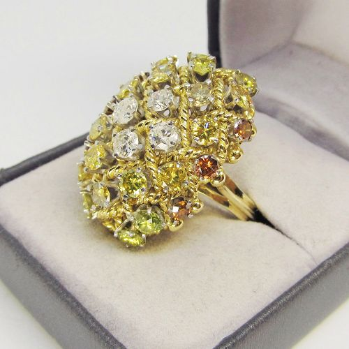 1960's Multy Colored Diamond Dome Ring 18Kt Gold