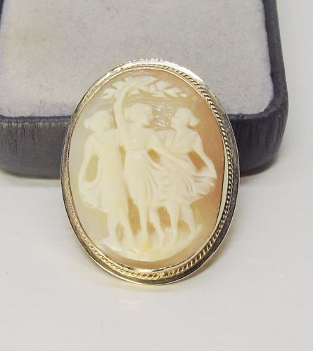 Three Graces Shell Cameo in 14 Kt Gold Pin and Pendant