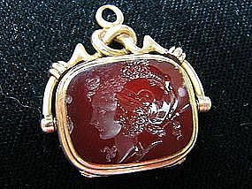 Double Sided 14 Kt Gold, Carnelian and Onyx Watch Fob