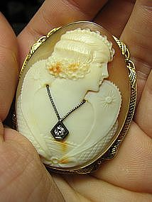 Elizabethan Style Shell Cameo in 14 Kt Gold Frame