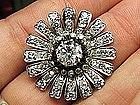 14 Karat Gold and Diamond Edwardian Flower Pin