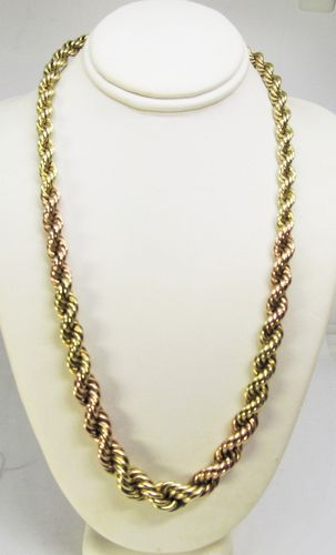 Graduated Rope Chain in Pink and Yellow 14 Kt Gold