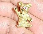 14Kt Yellow Gold Teddy Bear Broach with Ruby Eyes