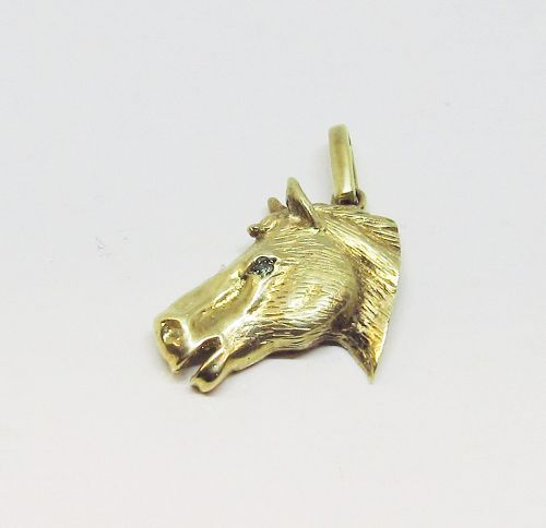 Horse Head Pendant with Green Diamond Eye