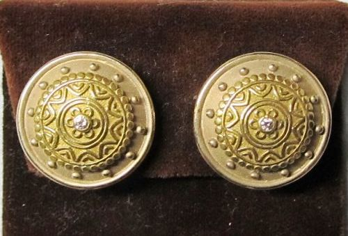 Etruscan Style 18Kt Two Tone Gold Earrings with Diamond