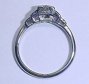 Art Deco Diamond Platinum and 18Kt Gold Engagement Ring
