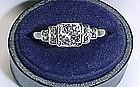 Art Deco Diamond Platinum and 18Kt Gold Engagement Ring