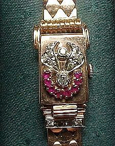 14 Karat Pink Gold Retro Watch with Rubies, Diamonds