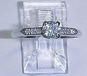 Art Deco Platinum and Diamond Engagement Ring