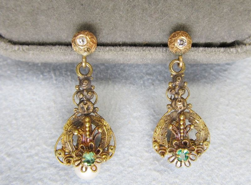 Gold Victorian Etruscan Hanging Earrings