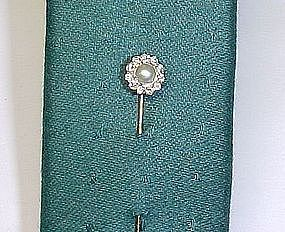 Pearl Centered Diamond Cluster Stick Pin