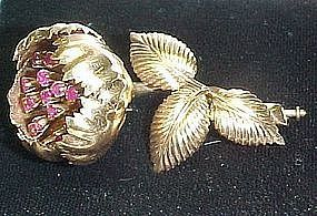 18Kt Gold and Ruby Flower Broach with Movable Parts