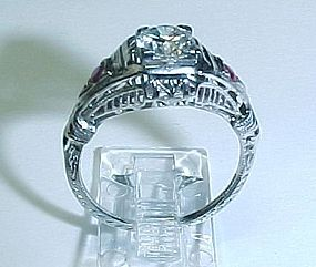 1920'S 18Kt White Gold Diamond and Ruby Ring