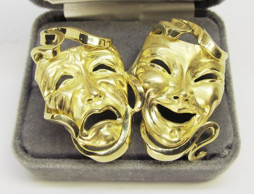 18Kt Gold Comedy and Tragedy Broach