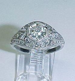 Platinum and Diamond Filigree Ring