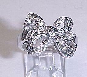 Platinum and Diamond Bow Ring